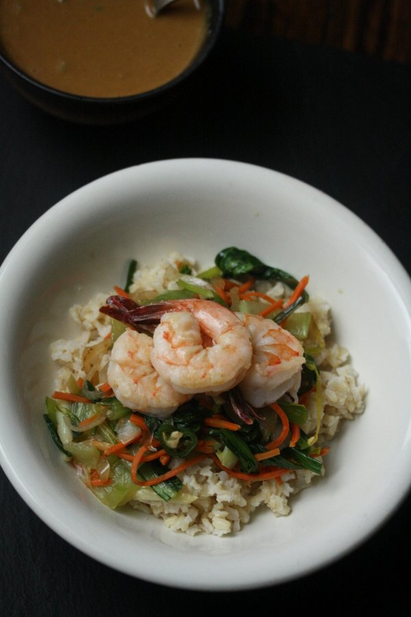 Shrimp Stir Fry with Brown Rice, Bok Choy, and Peanut Sauce