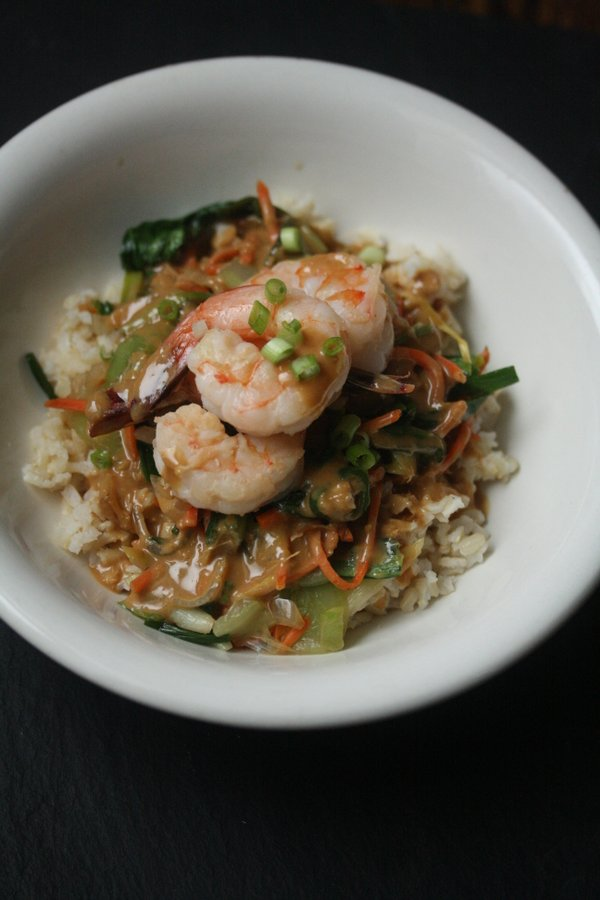 Shrimp Stir Fry with Brown Rice, Bok Choy, and Peanut Sauce