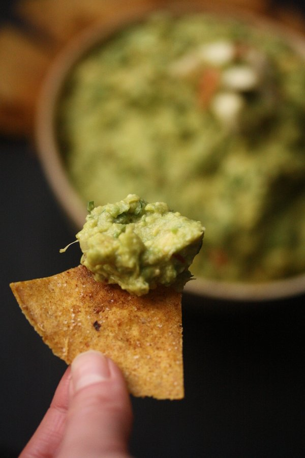 Big Apple Guacamole with Sweet & Savory Baked Tortilla Chips