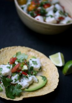 Ceviche Fish Tacos with Avocado and Lime
