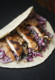 Grilled Chicken Breast Tacos with Creamy Cabbage Slaw