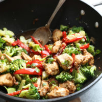Sesame Chicken with Broccoli and Red Peppers in a Wok