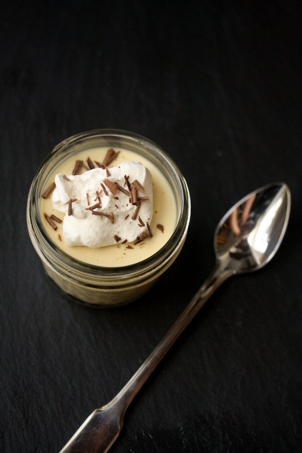 Salted Caramel Budino with Whipped Cream