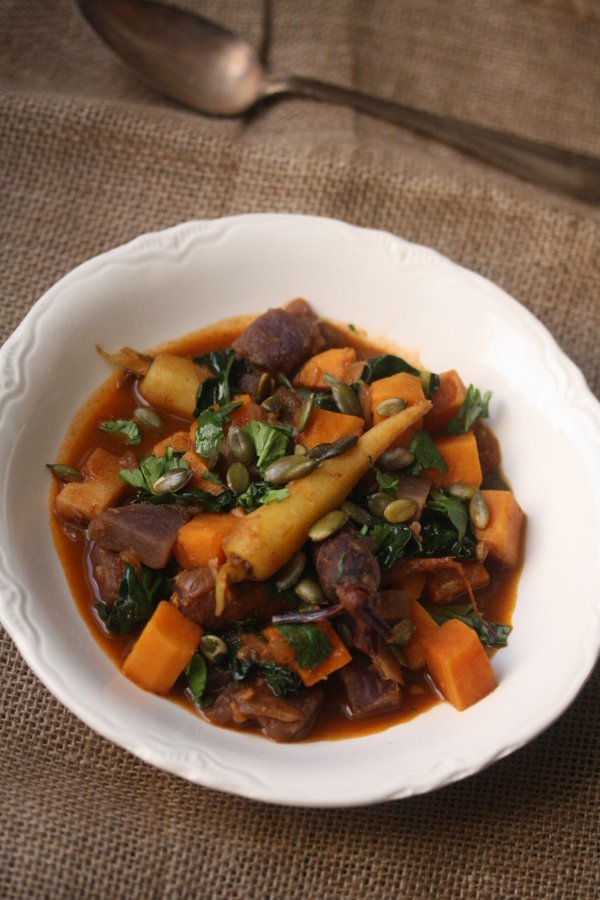 Root Vegetable Tagine with Kale