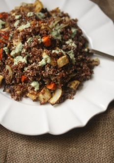 Red Quinoa Salad with Roasted Carrots, Parnsips, and Green Tahini Dressing