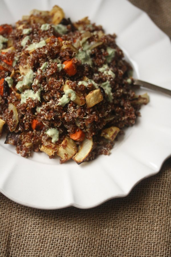 Quinoa Salad with Roasted Carrots, Parnsips, and Green Tahini Dressing