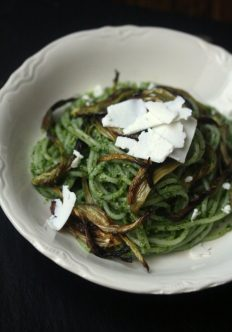 Arugula Pesto Pasta with Roasted Fennel and Ricotta Salata