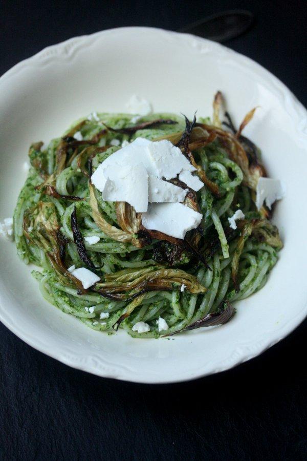 Arugula Pesto Pasta with Roasted Fennel and Ricotta Salata