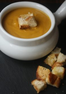 Pumpkin Soup with Parmesan Croutons