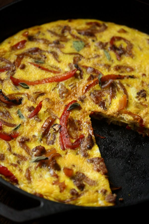 Italian Sausage, Onion and Pepper Frittata with Sausage | Gluten-Free Breakfast Recipes | Healthy Brunch Recipes