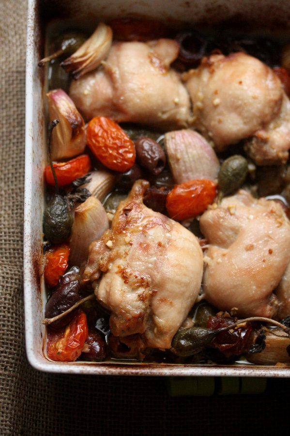 Baked Chicken with Tomatoes, Capers, and Dates