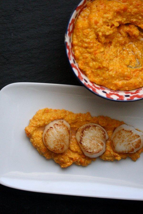Seared Scallops with Carrot Romesco Sauce