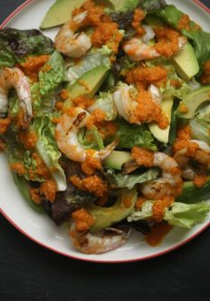 Grilled Shrimp Salad with Avocado and Carrot Ginger Dressing