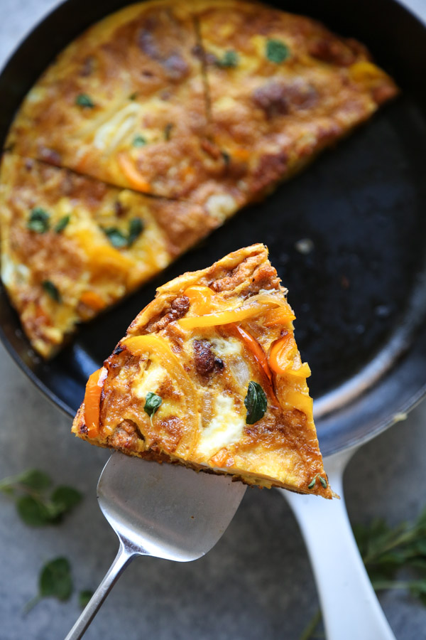 serving slice of frittata