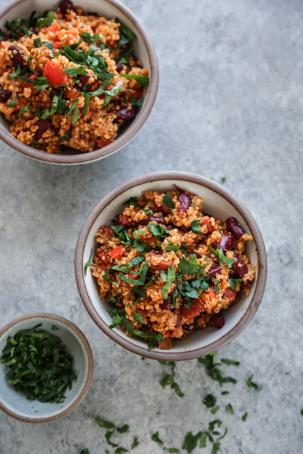 quinoa pilaf in a bowl with parsley