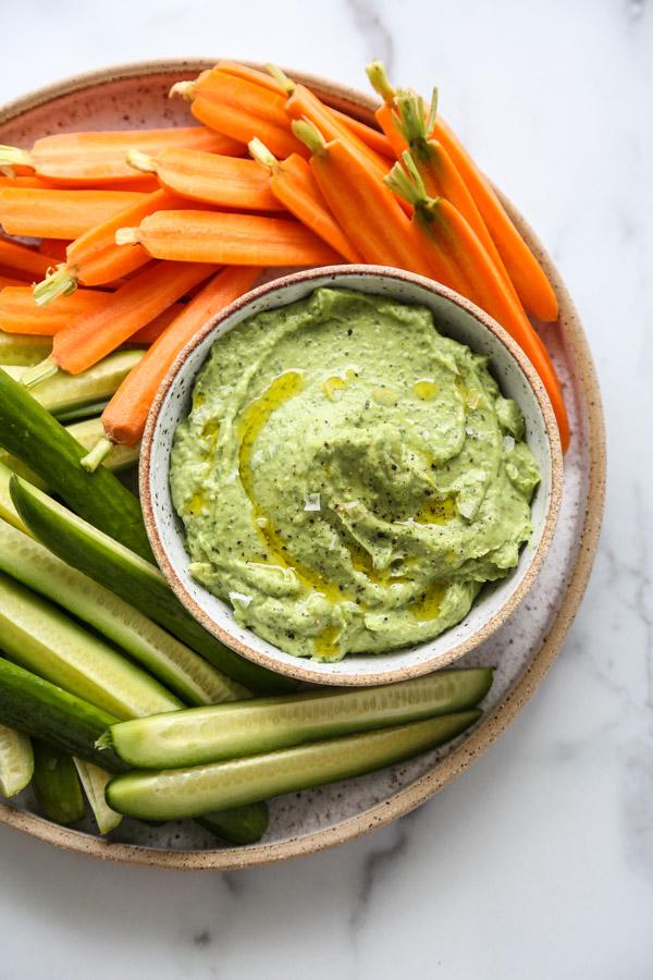 Green Goddess Avocado Dip Recipe with Crudites