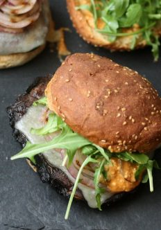 Grilled Portobello Mushroom Burgers with Romesco and Arugula