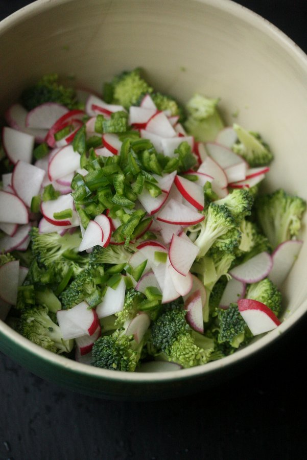 Healthy Broccoli Slaw Recipe With Yogurt Mint Dressing, Radishes and Raisins