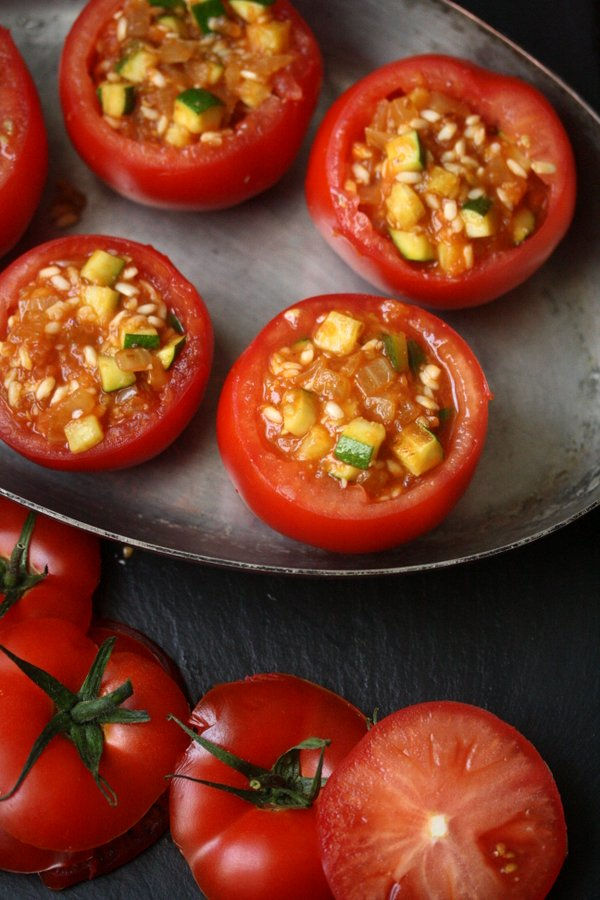 Greek Baked Stuffed Tomatoes Recipe with Rice (Yemista) | Vegetarian