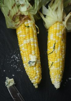 Grilled Corn on the Cob with Honey Basil Butter