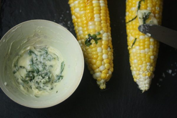 Grilled Corn on the Cob Recipe with Honey Basil Butter | Super Easy Grilled in the Husk