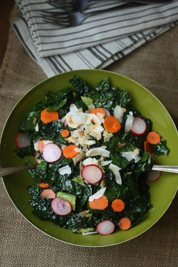 Raw Tuscan Kale Avocado Salad Recipe with Pickled Radishes and Coconut