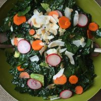Coconut Kale Salad with Avocado and Pickled Vegetables