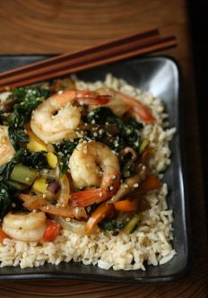 Sesame Shrimp Stir Fry with Summer Vegetables and Hemp Seeds