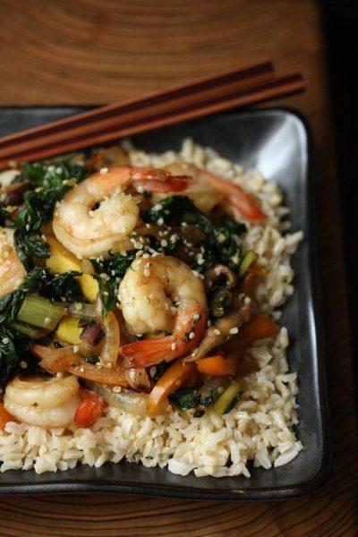 Sesame Shrimp Stir Fry with Summer Vegetables and Hemp Seeds