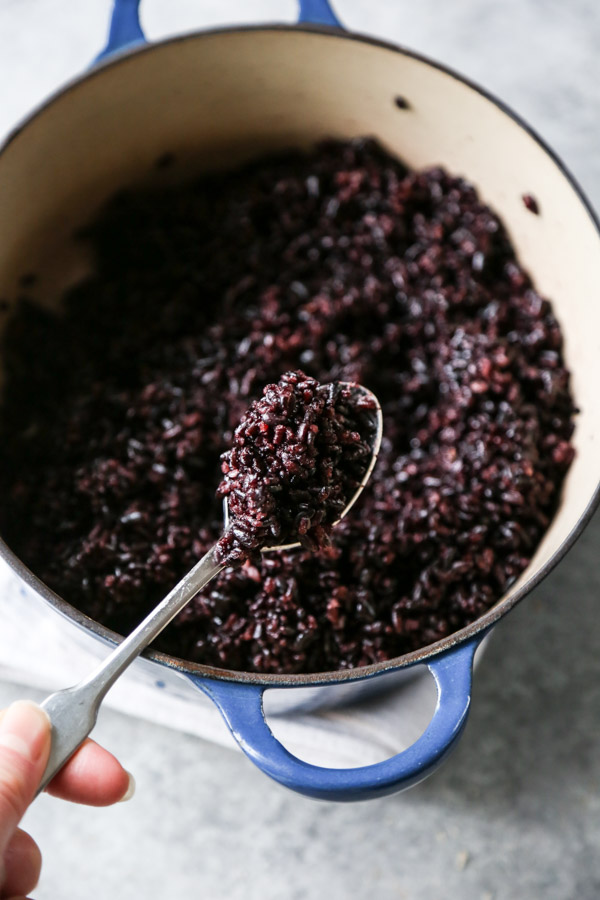 Fried Black Rice in a bowl