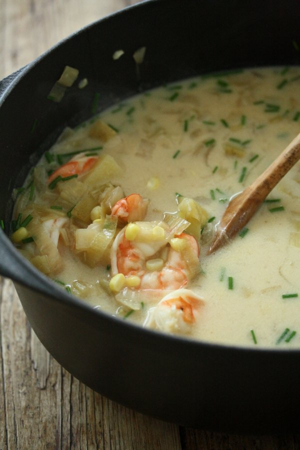 Easy Shrimp and Corn Chowder Recipe with Chives and Leeks | Healthy and Dairy-Free with Coconut Milk Instead of Cream!