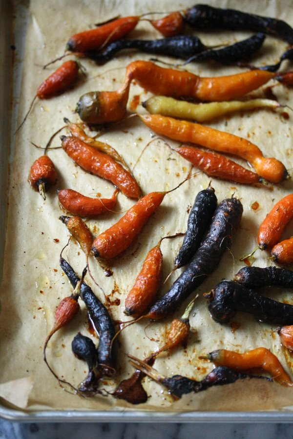 Honey Roasted Carrots with Thyme - oven baked with a hint of sweetness when cooked