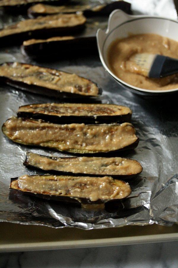 Eggplant with Japanese Miso Glaze. Fresh ginger, scallions, and gluten-free miso paste.
