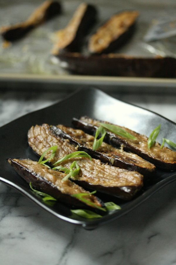 Japanese Miso Glazed Eggplant with Scallions. So quick under the broiler and gluten-free.