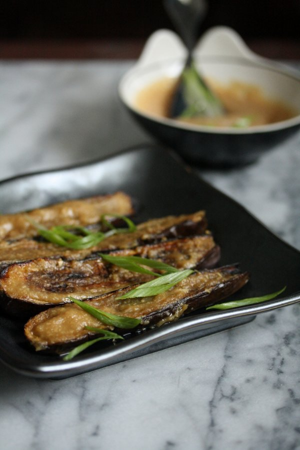 Gluten-free eggplant never tastes so good. Love this Japanese miso ginger glaze. Super quick and healthy.