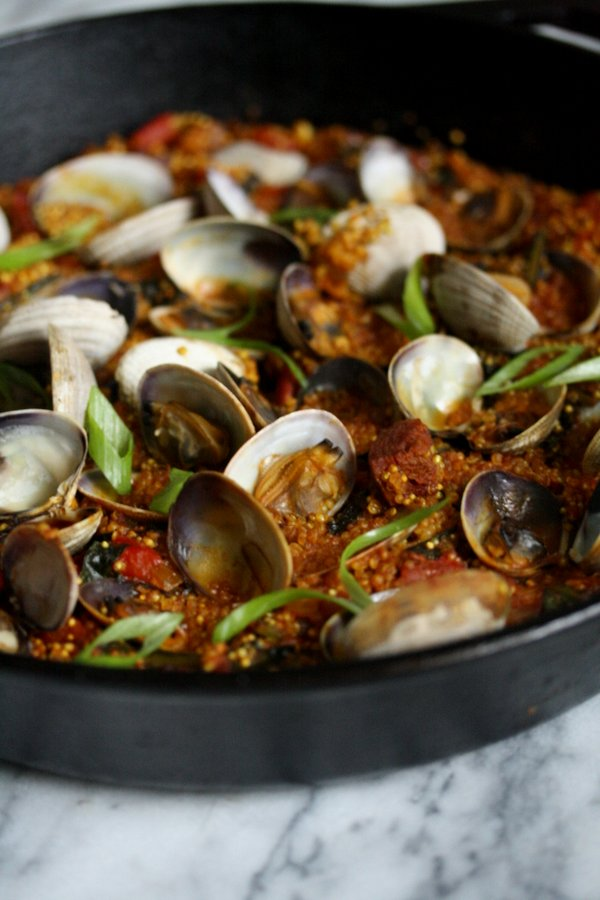 Easy Quinoa Paella with Clams, Chorizo and Winter Greens