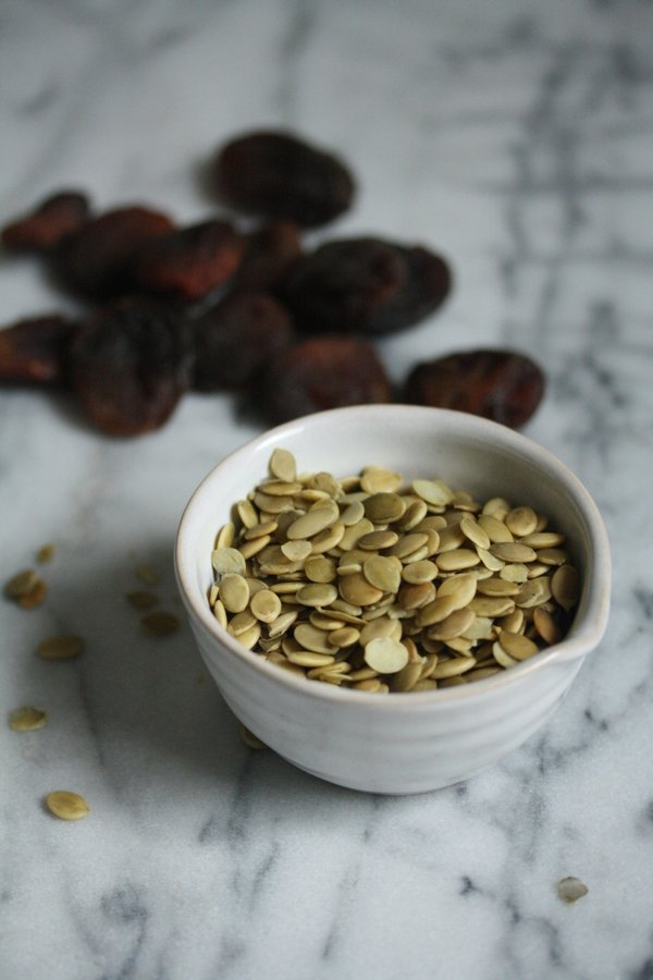 raw pumpkin seeds for my healthy oatmeal cookie recipe - non dairy and packed with fruit and nuts