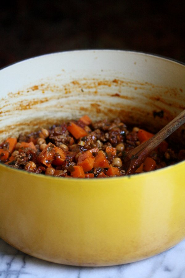 lamb chili with sweet potatoes, kale, and chickpeas - a great middle eastern spin on my usual slow cooker chili recipe