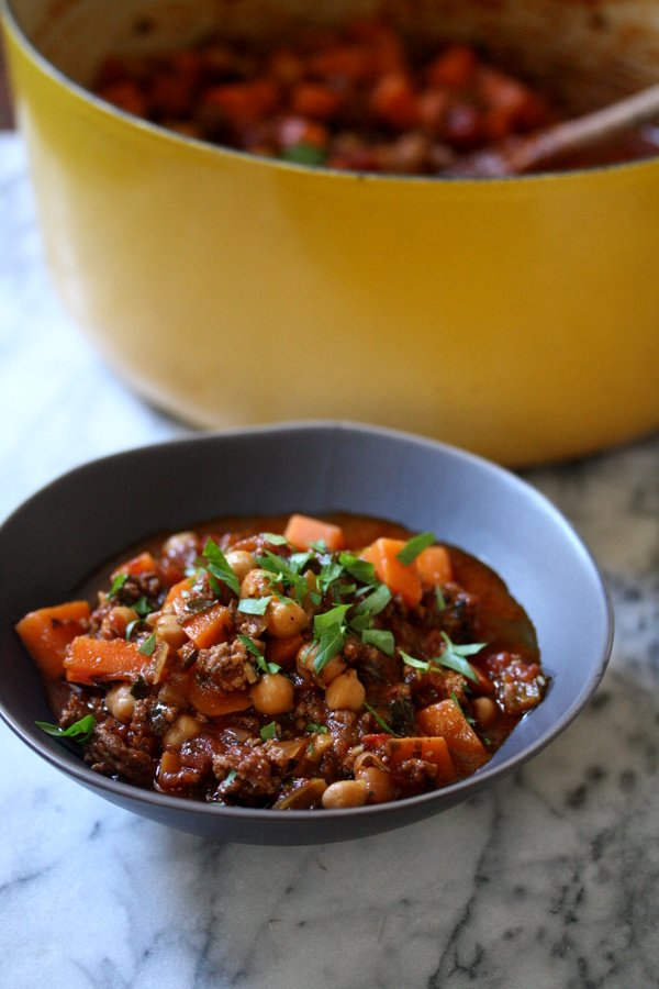 Moroccan Lamb Chili Recipe with Sweet Potatoes and Kale - Healthy and Gluten-Free