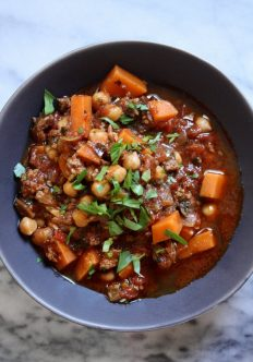 Moroccan Lamb Chili with Sweet Potatoes, Chickpeas and Kale