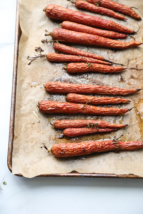 Roasted Carrots with Honey and Thyme on a sheet pan