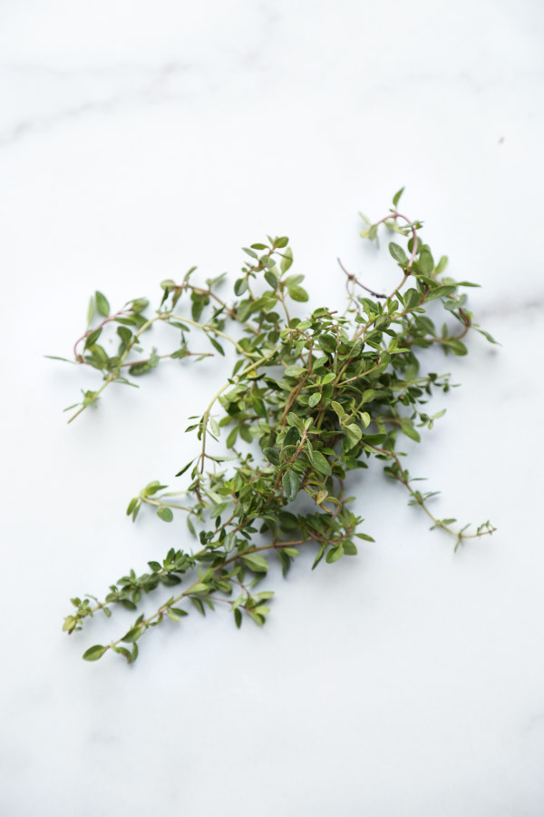 thyme on marble board