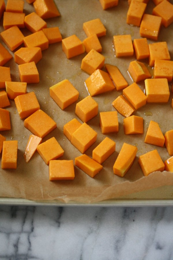 butternut squash about to be baked in the oven and then thrown on my smoky squash toasts