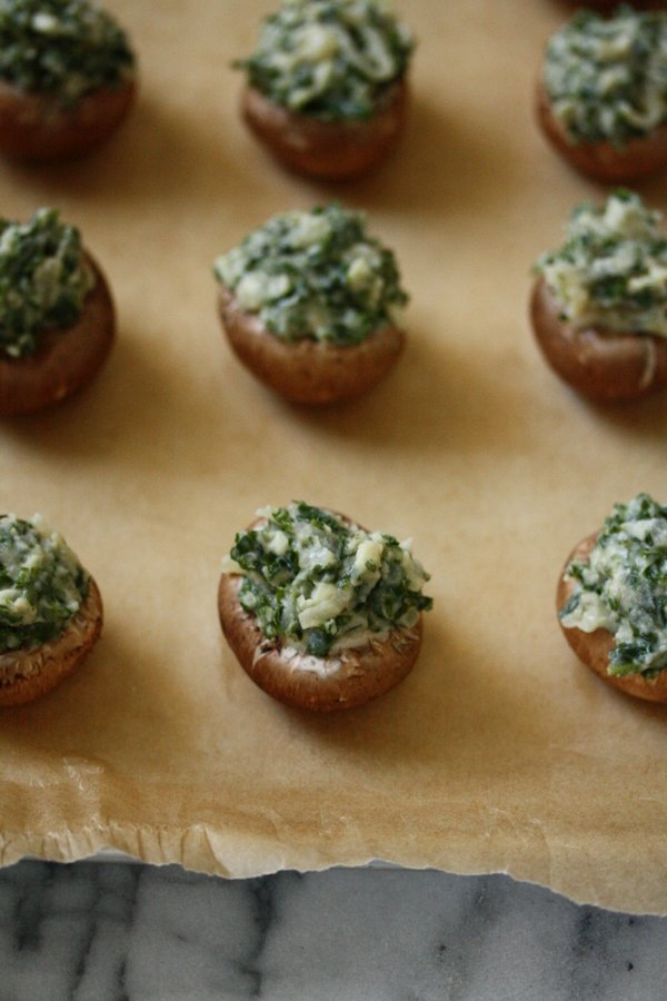 Mini Healthy Stuffed Mushrooms with Kale and Cheese