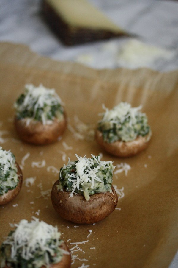 Manchego cheese top these easy stuffed mushroom caps. The best healthy holiday party appetizer recipe.
