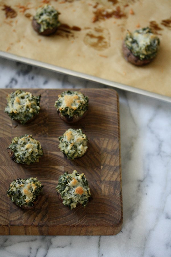 "Gluten-Free Mini Stuffed Mushrooms with dairy-free ""Creamed"" Kale and Manchego Cheese - a healthy, vegetarian appetizer recipe!"