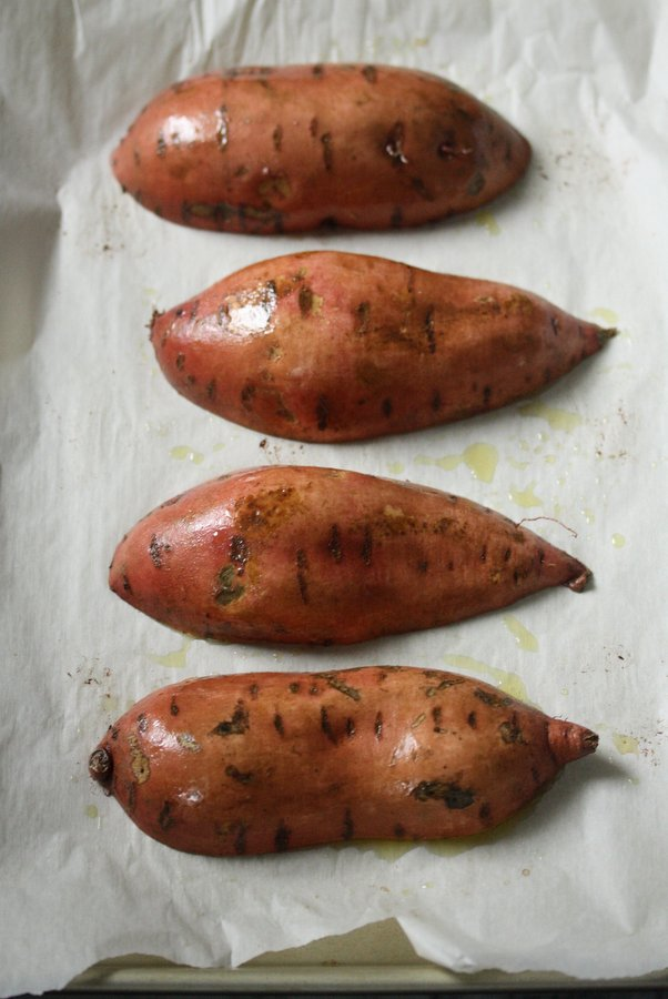 healthy baked sweet potato recipe - quick and easy - with spicu turkey sausage and healthy broccoli rabe