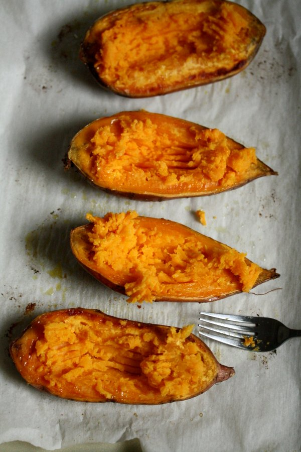 sugar-free twice baked sweet potatoes - healthy, easy, and gluten-free with just a little bit of cheese