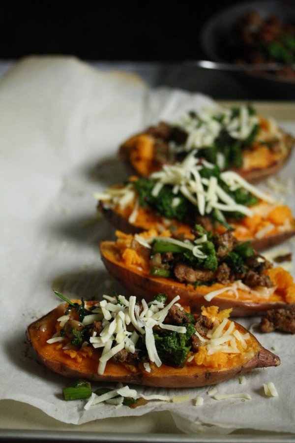 cheddar cheese baked sweet potatoes - healthy, easy and gluten-free!