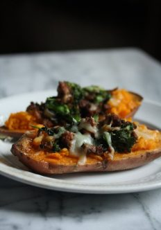 Healthy Baked Sweet Potatoes with Spicy Turkey Sausage and Broccoli Rabe